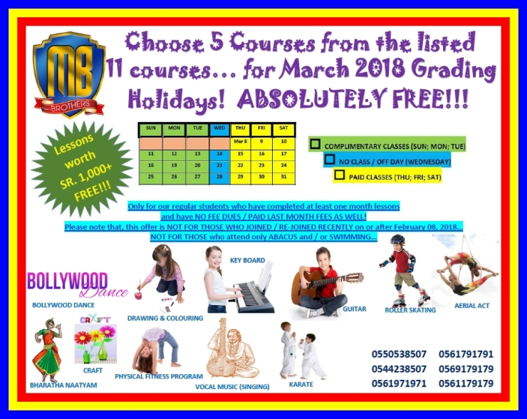 65 ~ COMPLIMENTARY CLASSES DURING MARCH 2018 ~ GRADING HOLIDAYS