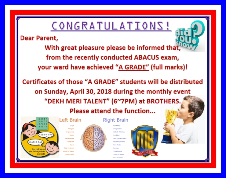 ABACUS A GRADERS CERTIFICATE DISTRIBUTION APR'18
