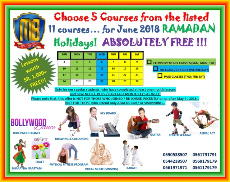 38 R ~ COMPLIMENTERY CLASSES FOR RAMADAN JUNE 2018