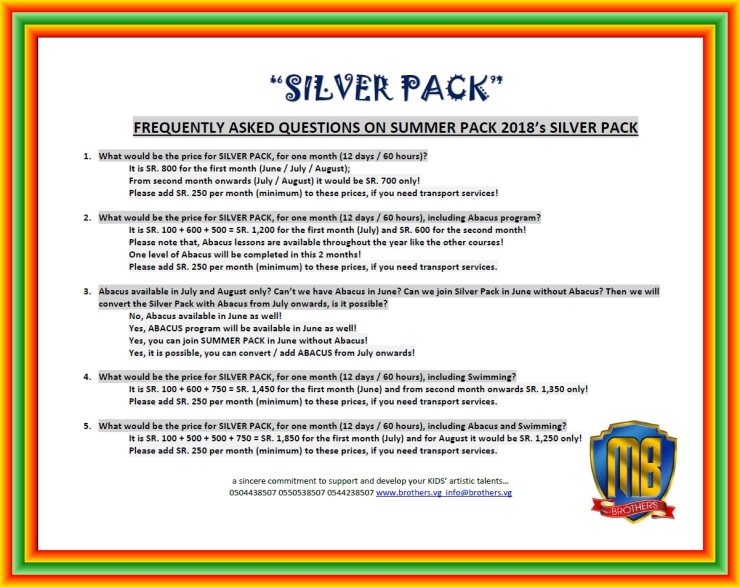 2~ SILVER PACK ~ SUMMER PACK 2018