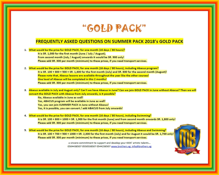 3~ GOLD PACK ~ SUMMER PACK 2018