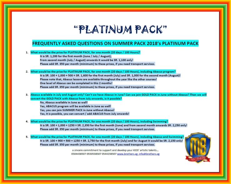 4~ PLATINUM PACK ~ SUMMER PACK 2018