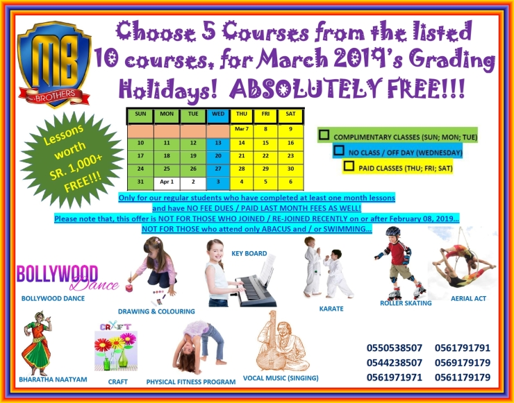 65 ~ COMPLIMENTARY CLASSES DURING MARCH 2019 ~ GRADING HOLIDAYS