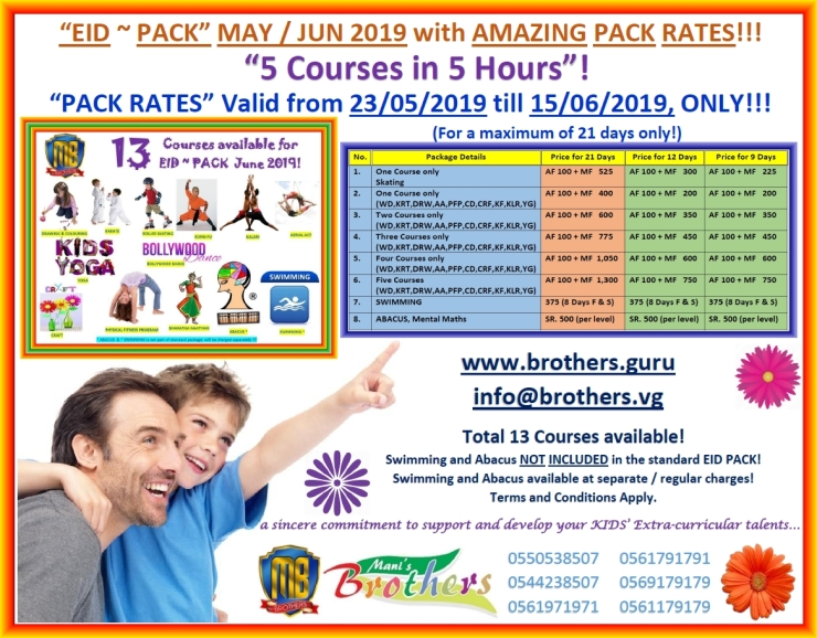66 ~ 2019 EID PACK MAY ~ JUNE 2019 ~ PRICING & COURSES ALL IN ONE