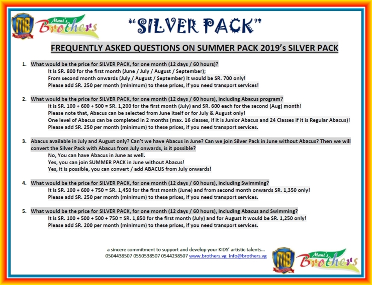 C ~ SILVER PACK ~ SUMMER PACK 2019