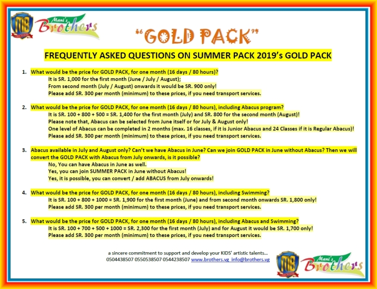 D ~ GOLD PACK ~ SUMMER PACK 2019